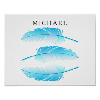 Baby Blue Feather with DIY Name Poster
