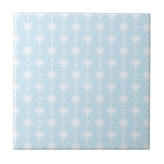Baby Blue Floral and Circle Print Small Square Tile