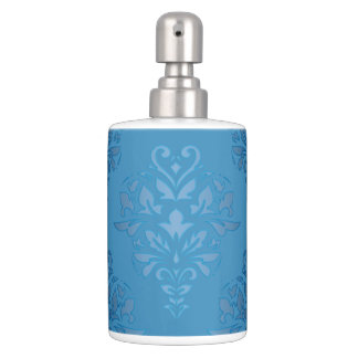 Baby Blue Floral Damask Bathroom Set