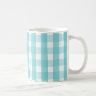 Baby blue gingham pattern mugs