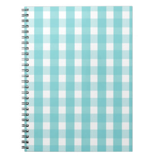 Baby blue gingham pattern notebook
