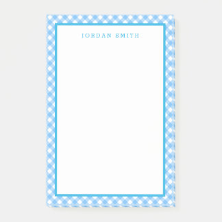 Baby Blue Gingham with Border Post-it Notes