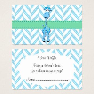 Baby Blue Giraffe Baby Boy Shower Book Raffle Business Card