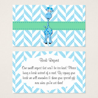 Baby Blue Giraffe Baby Boy Shower Book Request Business Card