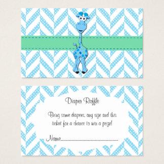 Baby Blue Giraffe Baby Boy Shower Diaper Raffle Business Card