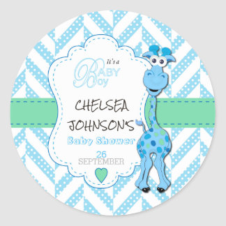 Baby Blue Giraffe Baby Shower Classic Round Sticker