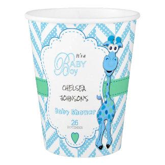 Baby Blue Giraffe Baby Shower Paper Cup