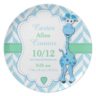 Baby Blue Giraffe - Birth Information Plate