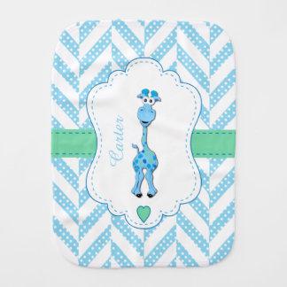 Baby Blue Giraffe Design Pattern Burp Cloth