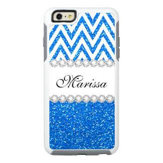 Baby Blue Glitter Chic White Chevron Pattern OtterBox iPhone 6/6s Plus Case