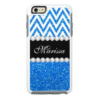 Baby Blue Glitter Cool White Chevron Stripe OtterBox iPhone 6/6s Plus Case