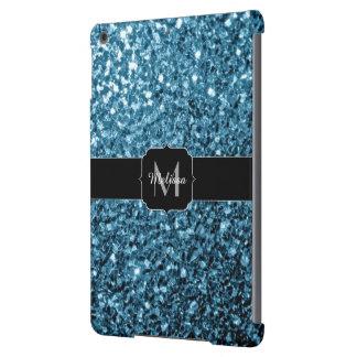 Baby blue glitter sparkles Monogram iPad Air Cover