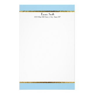 Baby Blue Gold and White Personalized Stationery