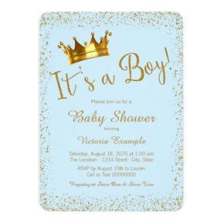 Baby Blue Gold Baby Boy Shower 11 Cm X 16 Cm Invitation Card