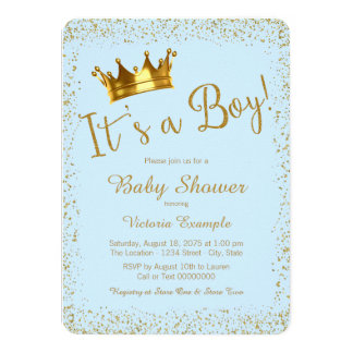 Baby Blue Gold Baby Boy Shower Card