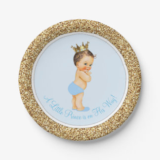 Baby Blue Gold Prince Baby Shower Paper Plate