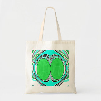 Baby blue green superfly design canvas bag