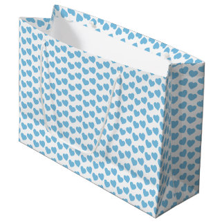 Baby Blue Heart Pattern on White Large Gift Bag