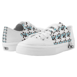 BABY BLUE HEX LOW TOP PRINTED SHOES