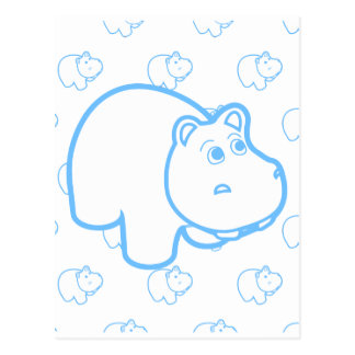 Baby Blue Hippo Postcards