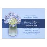 Baby Blue Hydrangea Mason Jar Bridal Shower Custom Announcements