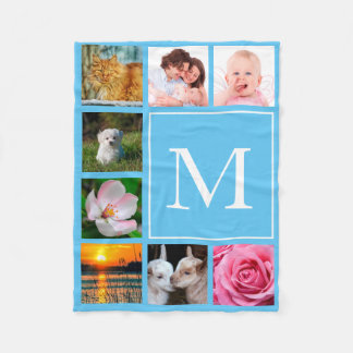 Baby Blue Instagram 8 Photo Collage Monogram Fleece Blanket