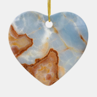 Baby Blue Marble with Rusty Veining Ceramic Ornament