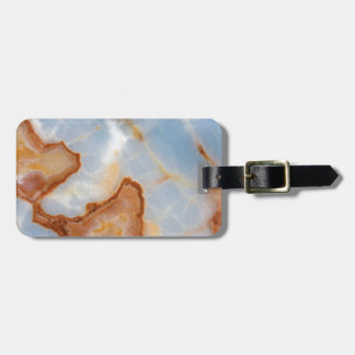 Baby Blue Marble with Rusty Veining Luggage Tag