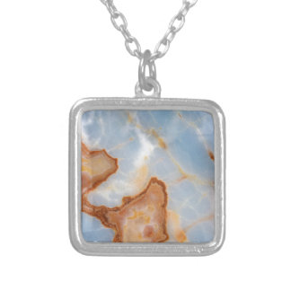 Baby Blue Marble with Rusty Veining Silver Plated Necklace