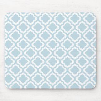 Baby Blue Moroccan Trellis Quatrefoil Clover Mouse Pads