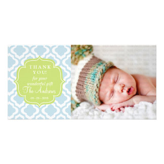 Baby Blue Moroccan Trellis Quatrefoil Thank You Customized Photo Card