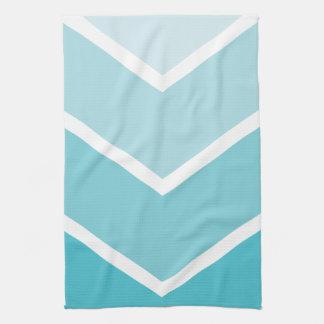 Baby Blue Ombré Chevron Stripes Tea Towel