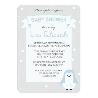 Baby Blue Penguin Baby Shower Invitation
