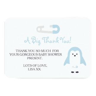 Baby Blue Penguin Thank You 9 Cm X 13 Cm Invitation Card