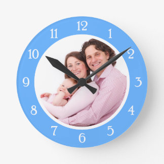 Baby Blue Photo Frame Round Clock