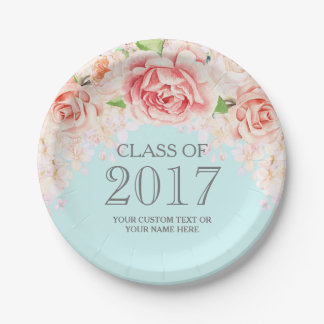 Baby Blue Pink Watercolor Flowers Graduation 2017 7 Inch Paper Plate
