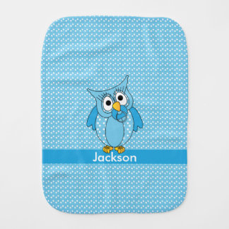 Baby Blue Polka Dot Owl Burp Cloth