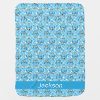 Baby Blue Polka Dot Owl Pattern Design Baby Blanket