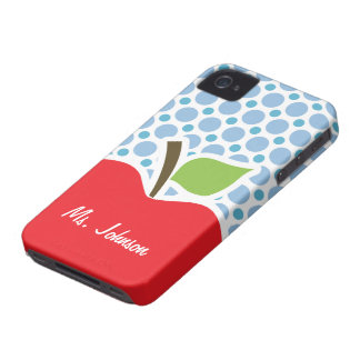 Baby Blue Polka Dots; Apple iPhone 4 Case