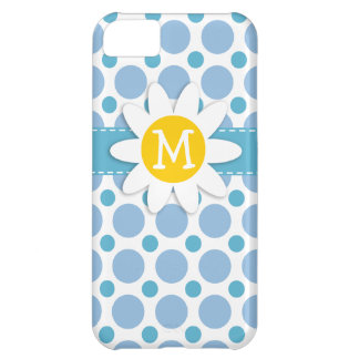 Baby Blue Polka Dots; Daisy Case For iPhone 5C