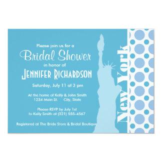 Baby Blue Polka Dots; New York, Statue of Liberty 13 Cm X 18 Cm Invitation Card