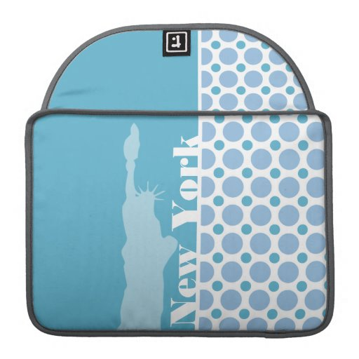 Baby Blue Polka Dots; New York, Statue of Liberty Sleeves For MacBook Pro