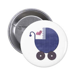 Baby Blue Pram Art Button