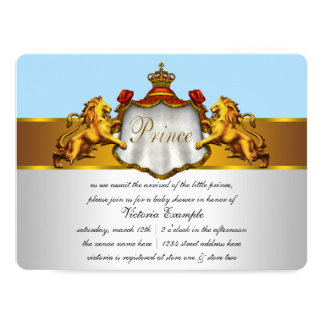 """Baby Blue Prince Baby Shower 6.5"""" X 8.75"""" Invitation Card"""
