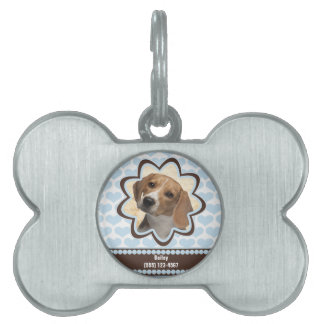 Baby Blue Puppy Hearts Custom Picture with Name Pet ID Tag