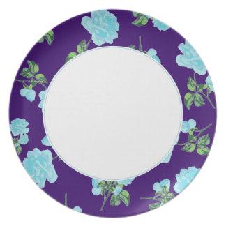 Baby Blue Roses on violet purple floral plate