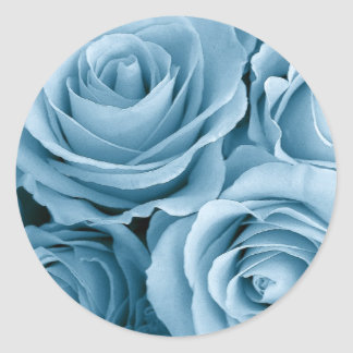 BABY BLUE Roses - Wedding Envelope Seal Round Sticker