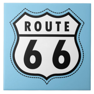 Baby Blue Route 66 sign Ceramic Tile