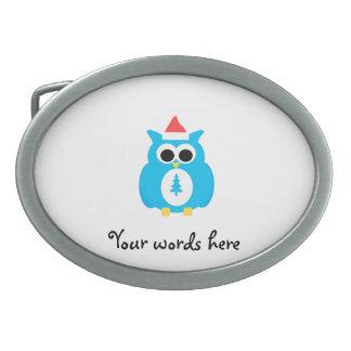 Baby blue santa owl oval belt buckles