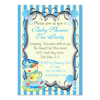 Baby Blue Shower Victorian Tea Party Invitation